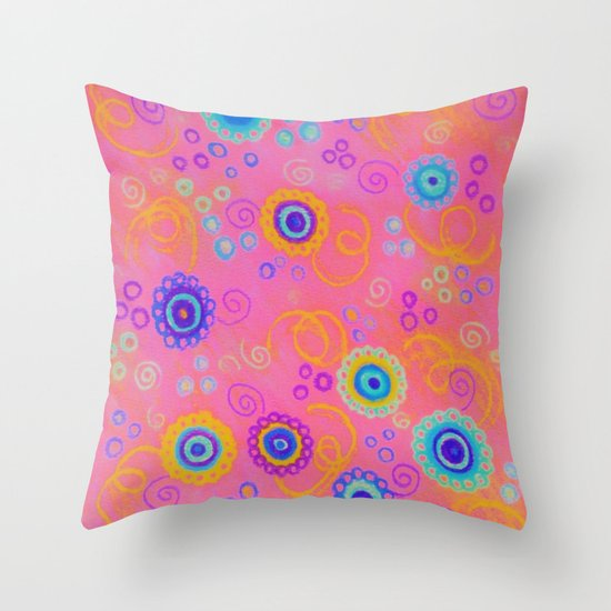 RASPBERRY FIZZ - Sweet Pink Fruity Candy Swirls Abstract Watercolor Painting Bright Feminine Art Throw Pillow