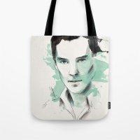 cumberbatch Tote Bags featuring Benedict Cumberbatch by charlotvanh