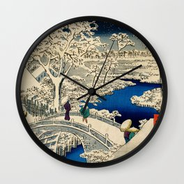Ukiyo-e, Ando Hiroshige, Yuhi Hill and the Drum Bridge at Meguro Wall Clock