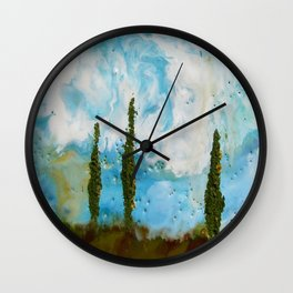 Tuscan Sunset original Encaustic wax painting by Seasons Kaz Sparks Wall Clock