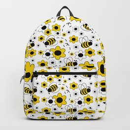 Honey Bumble Bee Yellow Floral Pattern Backpack