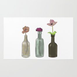 flowers in glass bottles . Pastel colors . artwork . Rug