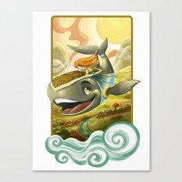 Sky Whale Rider Canvas Print