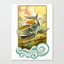 Sky Whale Rider Canvas Print