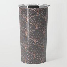 Modern trendy scallop hand drawn rose gold grey graphite industrial cement pattern Travel Mug