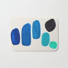 Mid Century Modern Retro Minimalist Colorful Shapes Phthalo Blue Marine Green Gradient Pebbles Bath Mat