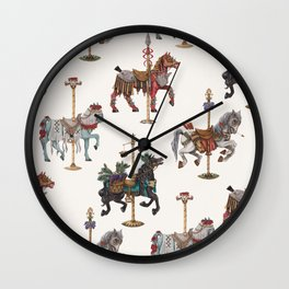 Four Carousel Horses of the Apocalypse - Square Wall Clock