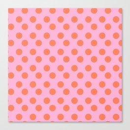 pink and orange polkadots Canvas Print