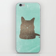 Happy cat illustration in blue and brown iPhone & iPod Skin