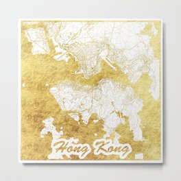 Hong Kong Map Gold Metal Print