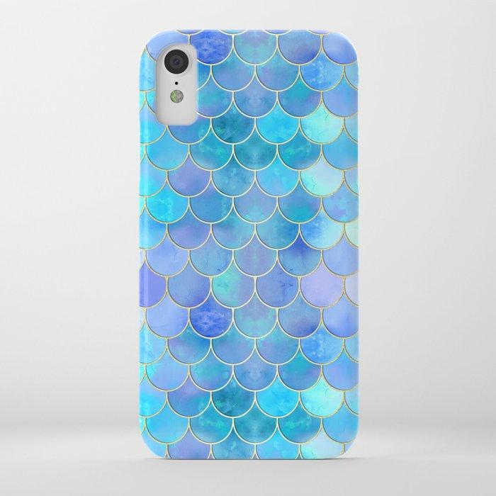aqua pearlescent & gold mermaid scale pattern iphone case