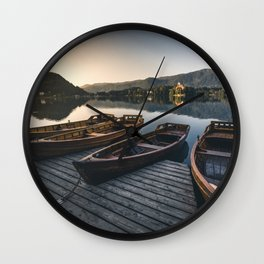 Lake Bled on a summer morning Wall Clock