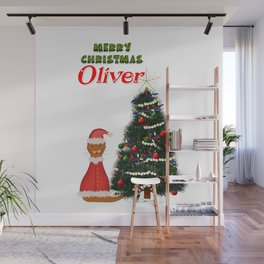 Oliver Dressed as Santa by His Christmas Tree Wall Mural