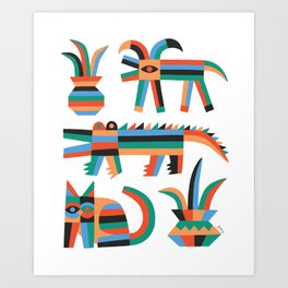 Animal friends chilling with potted plants by Matt Clinard Art Print