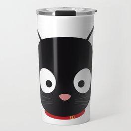 Cute black cat with red collar Travel Mug