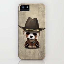 Cute Baby Red Panda Sheriff iPhone Case