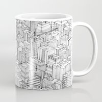large Mugs featuring Isometric Urbanism pt.1 by Herds of Birds