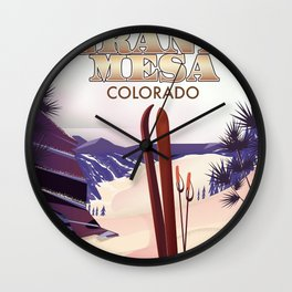 Grand Mesa ski travel poster Wall Clock