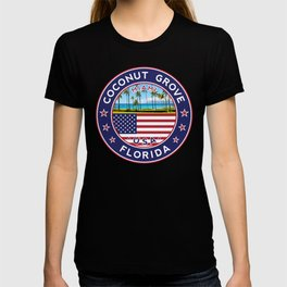 Coconut Grove, Florida with palmtrees T-shirt