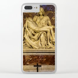La Pieta Sculpted by Michelangelo photographed at St-Peter's Basilica Clear iPhone Case