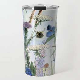 Wildflower in Garden Watercolor Flower Illustration Painting Travel Mug