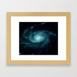 Spiral gALAxy Teal Framed Art Print