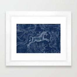 Unicorn stars sky map Framed Art Print