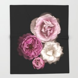 Purple, Pink, and White Roses Throw Blanket