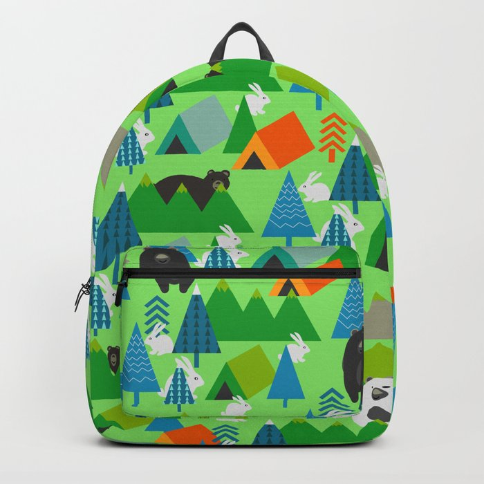 Forest with cute little bunnies and bears Backpack