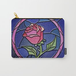 Beauty and the Beast Enchanted Rose Stained Glass Carry-All Pouch