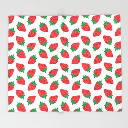 Cream Strawberries Pattern Throw Blanket