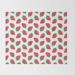 Cream Strawberries Pattern Throw Blanket