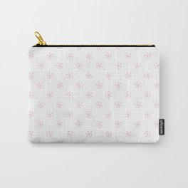 Cotton Candy Pink on White Snowflakes Carry-All Pouch
