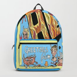 greetings from hell vintage retro postcard, blue yellow orange Backpack