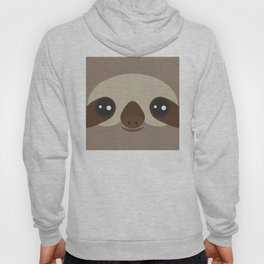 funny and cute smiling Three-toed sloth on brown background Hoody