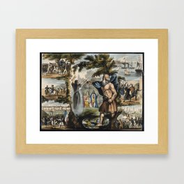 Raphael's Prophetic Almanack: a mob in France, Merlin and King Arthur, and the Boxer Rebellion (1840 Framed Art Print
