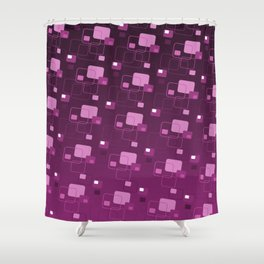 Space Age Retro Square Pattern Design Shower Curtain