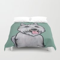 levi Duvet Covers featuring Levi the Miniature Schnauzer by Pawblo Picasso