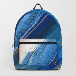 Dark Blue Flow II - Blue Striped Fluid Pour Painting Metallic Backpack