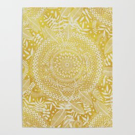 Medallion Pattern in Mustard and Cream Poster