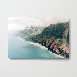 View over Na Pali Coast  - Kauai, Hawaii (USA)   Nature Travel Photography Metal Print