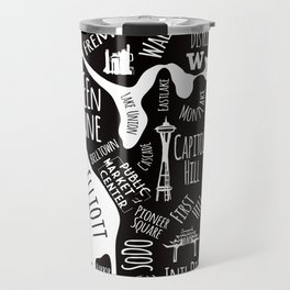Seattle Illustrated Map in Black and White - Single Print Travel Mug