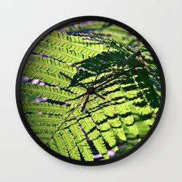 Green Fern in Sunny Dreams Wall Clock