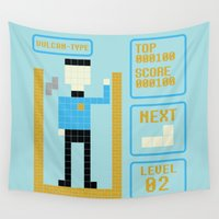 tetris Wall Tapestries featuring TETRIS: Vulcan Type by Josh Ln