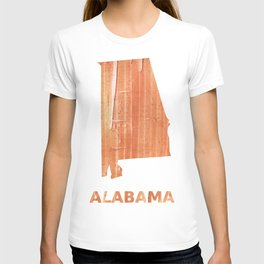 Alabama map outline Orange Brown Striped watercolor T-shirt