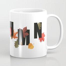 Autumn word and leaves BLACK Coffee Mug