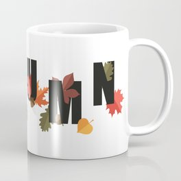 Autumn word and leaves BLACK Coffee Mug