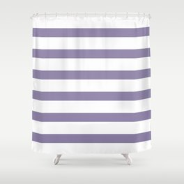 Purple Light Stripes on White Background Shower Curtain