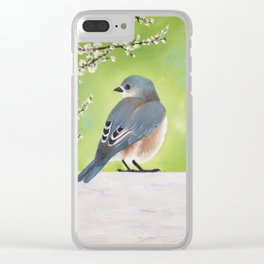Bluebird and Blossoms Clear iPhone Case