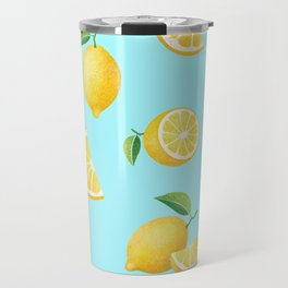 Lemons on Blue Travel Mug